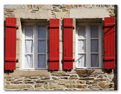 Bretonische Finestra 2 – Esclusivo motivo artistico XXL, dimensioni: 120 x 90 cm formato orizzontale, stampa digitale su vetro acrilico 5 mm Francia Bretagna Casa Marrone/Rosso/Beige Quadro grande arte