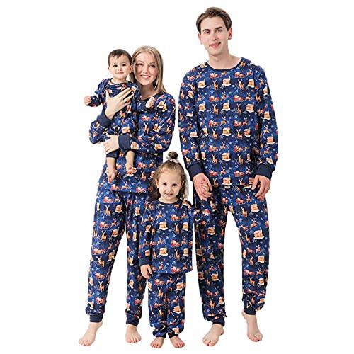 K-Youths 2PCS Conjunto de Traje para Padres e Hijos Body - Traje Suave y cómodo Ropa de Dormir - Conjunto de Pijamas navideños Familiares a Juego Conjunto de Lindo Disfraz de Manga Larga