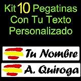 Vinilin - Kit 10 Pegatinas Vinilo Impreso Bandera España + Tu Nombre o Texto Personalizado....