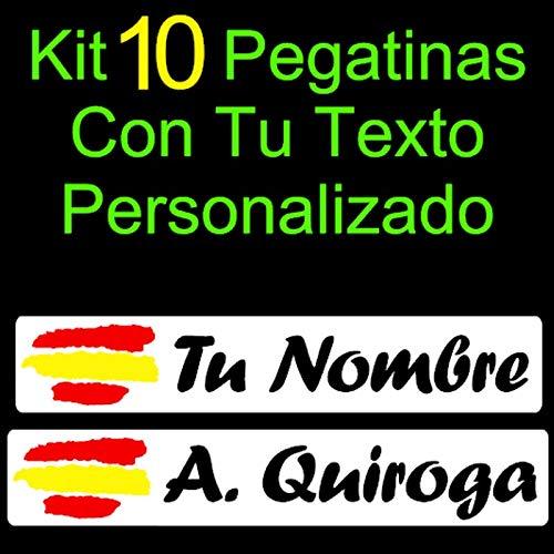 Vinilin - Kit 10 Pegatinas Vinilo Impreso Bandera España + Tu Nombre o Texto Personalizado. Resistentes Al Agua, Al Sol, y a los Arañazos - Laminado UV (Fondo Blanco - Texto Negro): Amazon.es: Coche y moto