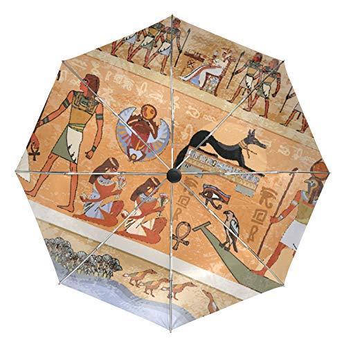 Kleiner Regenschirm Winddicht im Freien Regen Sonne UV Auto Compact 3-Fach Regenschirm Abdeckung - Historischer ägyptischer Rahmen Retro