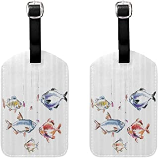2 PCS Printed luggage tag Fishing Decor Retro Fishing Love Quote with Goldfish Herring Bream Bass Salmon Figures Image Soft to the touch Multi