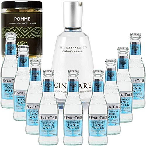 Gintonic - Gin Mare 42,7 ° + 9Fever Agua Árbol Mediterráneo - (70cl + 9 * 20cl) + Pot 15 rebanadas de pomelo seca.