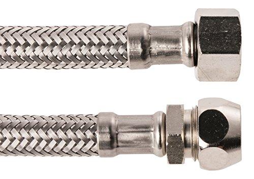 Geberit 19855 4 Schell Flexibler Armaturen-Verbindungsschlauch 3/8x10x300mm, Edelstahl, 3/8 Zoll Überwurf x 10mm Quetsche x 300 mm, 3/8 x 10 x 300mm