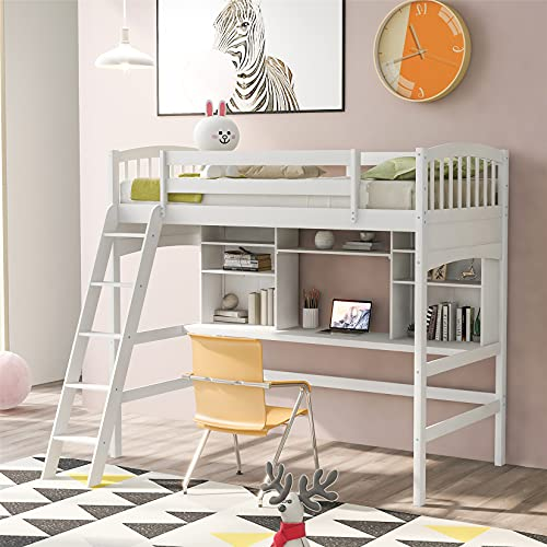 Kids Loft Beds, Twin Loft Bed with Desk, Wood High Loft Bed with Bookcase Shelves for Dorm, Boys & Girls Teens Adults, White