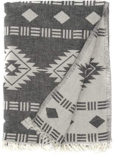 Bersuse 100% Algodon - Belize Toalla Turca - Fouta Toalla de Playa y Toalla de Baño - Doble Capa - Diseño Azteca, Oeko-Tex - 95 x 175 cm, Negro