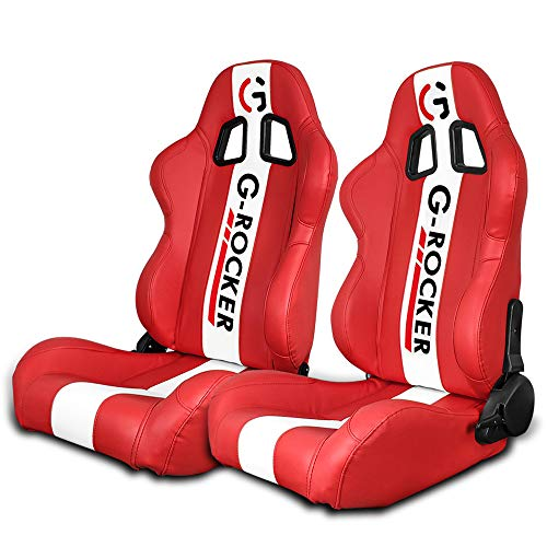 IKON MOTORSPORTS, Universal Racing Seats Pair with Dual Sliders, Red PU Leather White Stripe Reclinable Left Right