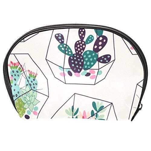 TIZORAX Kakteen in Glas Terrarien Kosmetiktasche Reise Praktische Organizer Tasche Make-up-Tasche Geldbörse für Frauen Mädchen