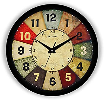 E Deals Vintage Classic Roulette Printed Wall Clock 10 Inches Round Shaped Designer Wall Clock with Glass for Home/Living Room/Bedroom/Kitchen/Office (Silent Movement, Black Frame) | Small PWC-401