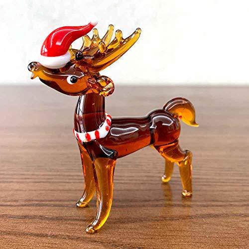 KKUUNXU Cristal Hecho a Mano soplado adorables Figuras de Ciervo Adorno Animal pisapapeles niños Presente decoración de Mesa para el hogar