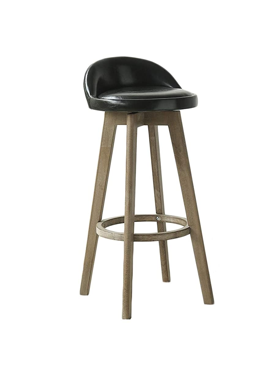 BARSTOOLRI High Stool with Backrest, Ergonomics Non-Slip 360° Rotation Black Durable Leatherette Solid Wood Bar Chair for Home Kitchen (Size : 63cm)
