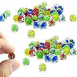 dancepandas Canicas de Vidrio 100PCS 14mm Marmoles de Cristal Canicas de Cristal Adecuado Canicas de Colores para Jugar al Juego de Mármol y A La Decoración de Jarrones de Peces (Color al Azar)