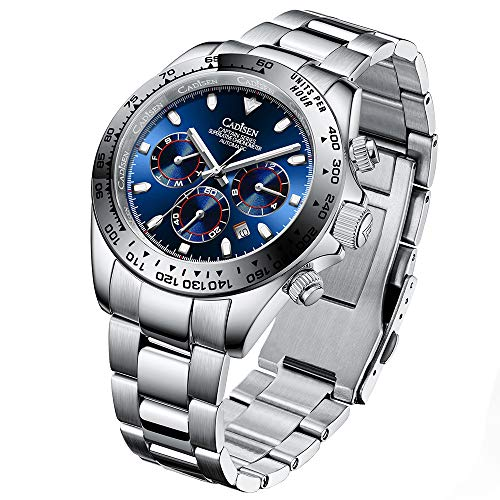 CADISEN Mode Herren-Automatikuhren Edelstahl Herren Mechanische Armbanduhren wasserdichte 100M Herren-Sportuhr mit Tag und Datum
