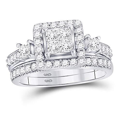 Diamond2Deal Anillo de boda de oro blanco de 10 quilates con diamantes de princesa