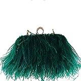 keland Borsa a tracolla con pochette in vera pelle di struzzo naturale (verde)