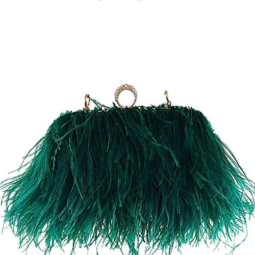 Zakia Real Natural Ostrich Feather Evening Clutch Shoulder Bag Party Bag (A-Green)
