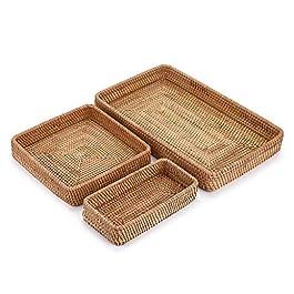 Sumnacon Lot de 3 paniers de service en rotin tissé à la main pour table basse ou salon