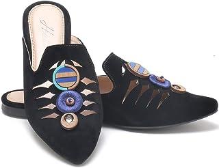 Mule tamanco feminino bico fino com pedraria SB Shoes ref. 10159