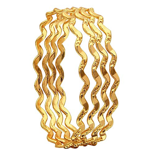 AFJ GOLD 1 g Gold Plated Thin Size Bangles for Women -Set of
