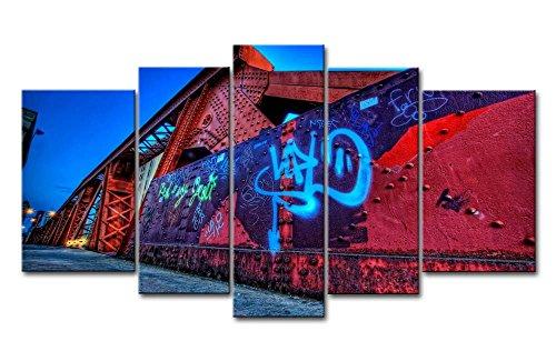 5 Panneau mural art Photo City Graffiti Street murale Impressions sur toile images à la ville à l'huile pour Home Décor Imprimé moderne Décoration
