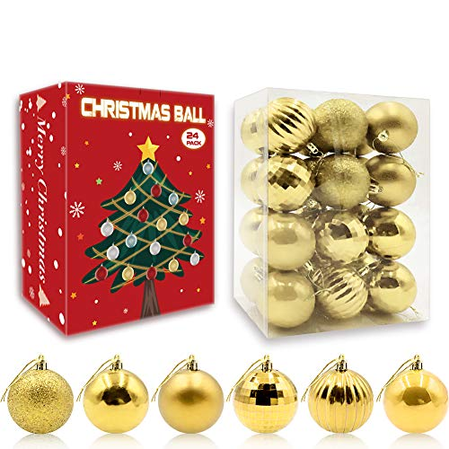 HAIGOU 24Pcs Christmas Balls Ornaments for Xmas Christmas Tree - 6 Style Christmas Tree Decorations Hanging Ball for Holiday Wedding Party Decoration (Gold)