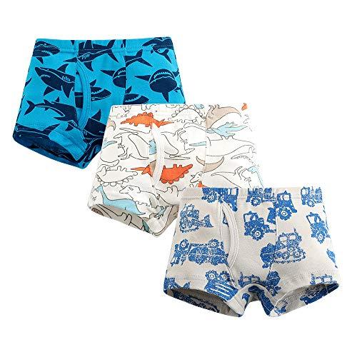 3 peças - Calcinhas de algodão macio para meninos de dinossauro, caminhão, tubarão, roupa íntima infantil
