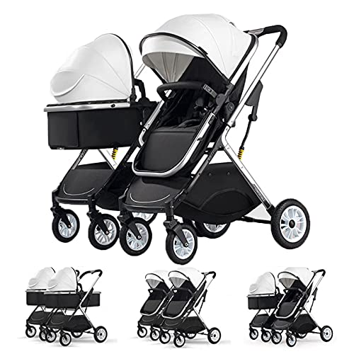 HuaQQI Twin Pushchairs from Birth, Fully Adjustable 2-In-1 Tandem Baby Pram and Buggy, Folding Newborn Umbrella Tandem Stroller Compact Toddler Pushchairs Bassinet,White
