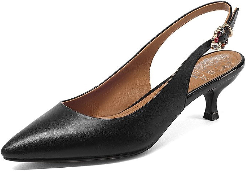 Nine Seven Genuine Leather Women's Pointed Toe Stiletto Heel Handmade Sling BackPumps