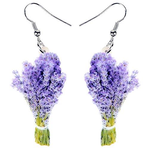 HBHBS Acryl Lavendel Blumenstrauß Ohrringe Tropfen Baumeln Mode Posy Pflanzenschmuck Für Frauen Mädchen Teen Geschenk