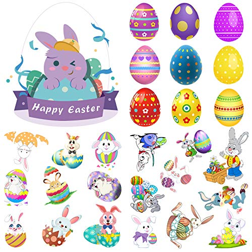 Asbtos Easter Decorations Easter Decor Window Clings with Easter Eggs Easter Bunnys, Easter Window Clings for Kids, Easter Bunny Stickers for School Home Office Use Party Supplies ( 28 Pieces, 4 Sheets, Purple )