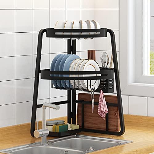 PEALOV Over Sink Dish Rack,3-Tier Folding Dish Drainer Rack,Over Sink Drainer Rack,Adjustable Dish Drainer With Utensil Holder,Cutlery Holder,Cutting Board Holder, Kitchen Supplies Storage Rack
