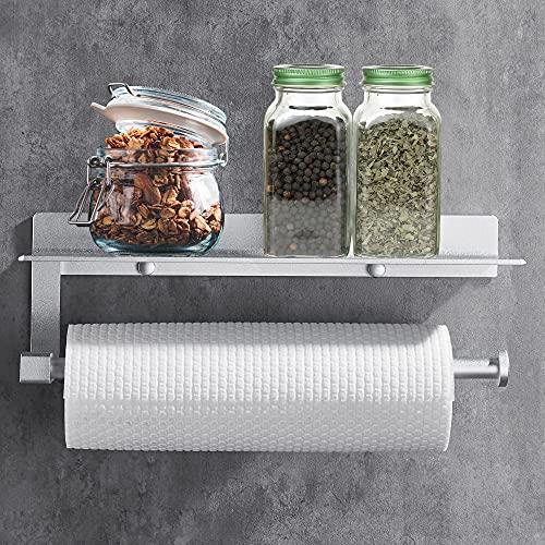 Wopeite Dispenser Di Carta Da Cucina Carta Igienica Porta Asciugamani Con Scomparto Per Telefoni Cellulari, Nessuna Foratura Auto Adesivo Argento