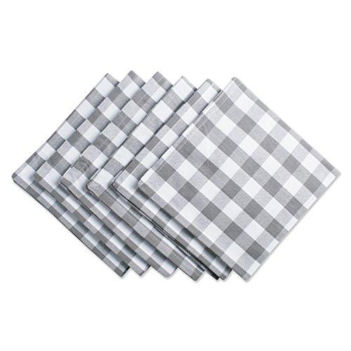 DIIチェック柄コレクションテーブルトップナプキンセットグレー6枚