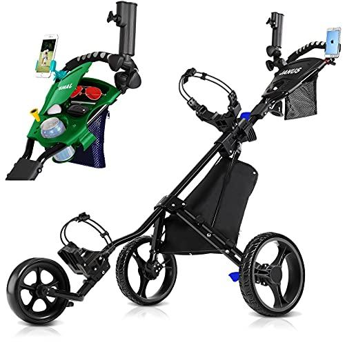 JANUS Golf Push Cart, Golf cart for Golf Clubs, Golf Pull cart for Golf Bag, Golf Push carts 3 Wheel Folding, Golf...