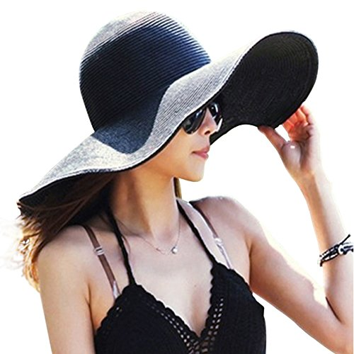 DRESHOW Straw Sun Hat Twist Bow Toquilla UPF 50+ Floppy Foldable Roll...