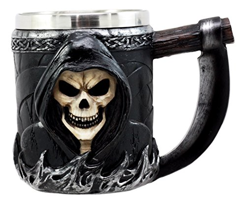 Ebros Gift Death Grim Reaper Coffee Mug With Scythe Handle Day Of The Dead Skeleton Reaper Skull Beer Stein Tankard Drink Cup 14oz