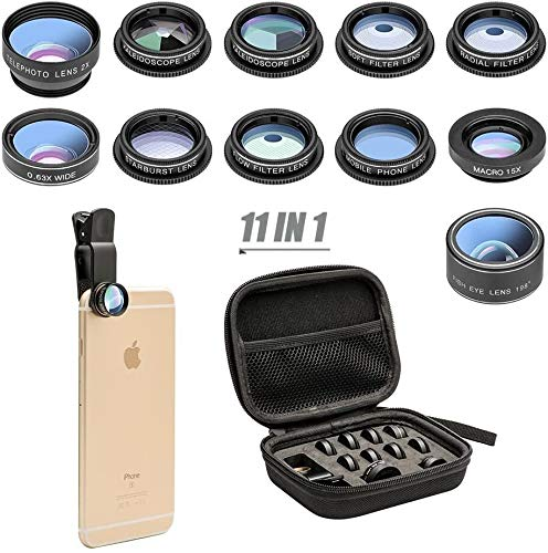 Godefa 11 in 1 Clip-On Phone Camera Lens Kit with Telephoto Zoom Wide Angle...