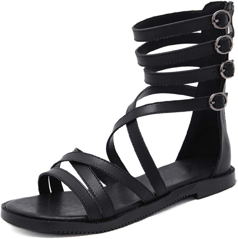 Women Gladiator Sandals Open Toe Flat Heels Beach shoes Black Leather Rome Style Women Sandals