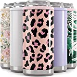Maars Skinny Can Cooler for Slim Beer & Hard Seltzer | Stainless Steel 12oz Koozy Sleeve, Double Wall Vacuum Insulated Drink Holder - Blush Leopard