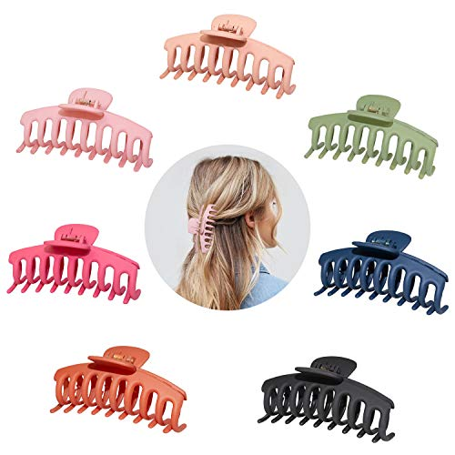 7 Stück Große Haarkrallenclips für Dickes Haar,4.3 Zoll Matte Haarspangen Rutschfeste Jumbo-Haarkrallen Strong Hold Hair Jaw Clamp Haarstyling-Zubehör für Frauen Mädchen Dünnes, dickes Haar