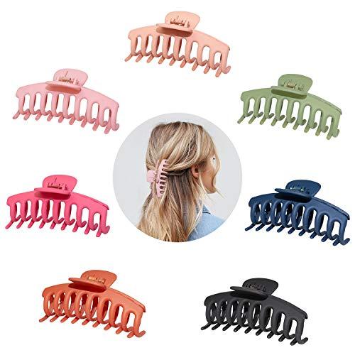 7 Stück Große Haarkrallenclips für Dickes Haar,4.3 Zoll Matte Haarspangen Rutschfeste Jumbo-Haarkrallen Strong Hold Hair Jaw Clamp Haarstyling-Zubehör für Frauen...