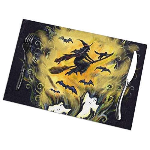 Singledog Hexenbesen fliegen Kürbisgeister Halloween-Themenset von 6 Tischsets Tischmatte