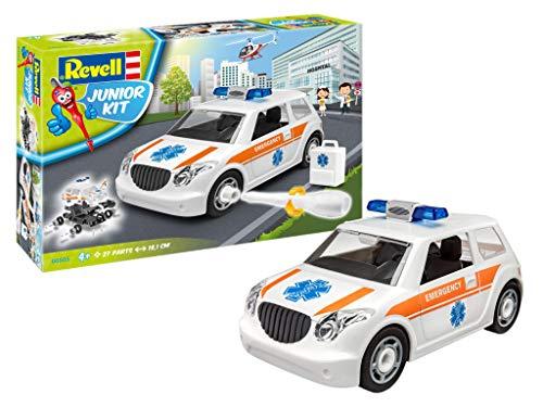 Revell Junior Kit Krankenwagen Auto Modellbausatz für Kinder zum Schrauben, robust zum Basteln und Spielen, ab 4+, kindgerecht, müheloses Verbinden weniger Teile, mit Aufklebern - RESCUE CAR 00805
