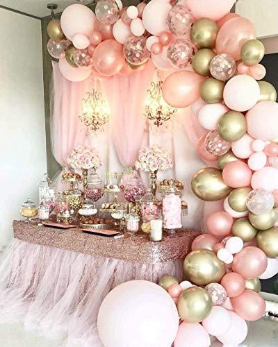 99 Piezas Kit de arcos de globos Rosa blanca y dorada Confeti Lleno de globos de látex Paquete con cinta de globos,para Niña Decoración de Boda Cumpleaños Fiesta Comunion
