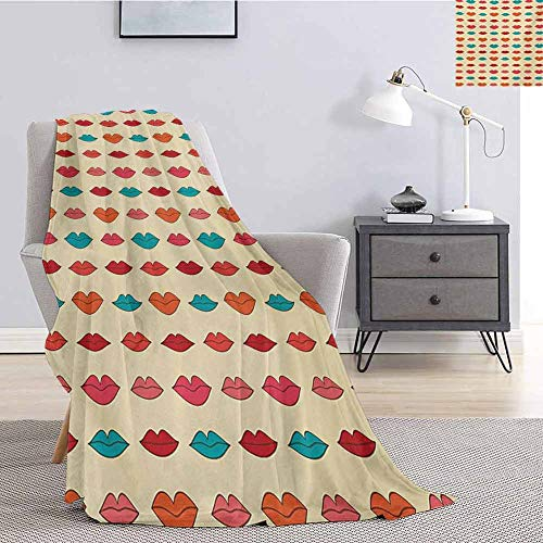 Kiss Bedding Flannel Blanket Pattern with Different Female Lip Shapes in Cartoon Style Colorful Romantic Girlish Super Soft and Comfortable Luxury Bed Blanket W70 x L90 Inch Multicolor