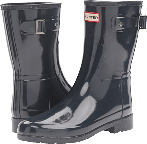 Womens Hunter Original Refined Short Gloss Wellingtons Rain Snow Boots - Navy - 9