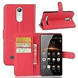 Qiaogle Teléfono Case - Funda de PU Cuero Billetera Clamshell Carcasa Cover para Leagoo M8 (5.7 Pulgadas) - FC04 / Rojo Estilo
