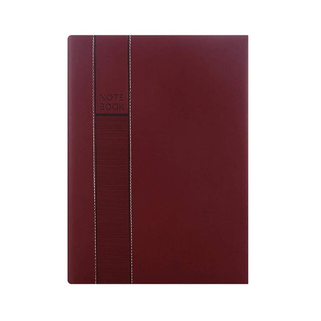 最愛の窓内訳ポータブルビジネスノートブック事業スケジュール本計画効率マニュアル管理ノートブックオフィスノートブック (Color : Wine red)