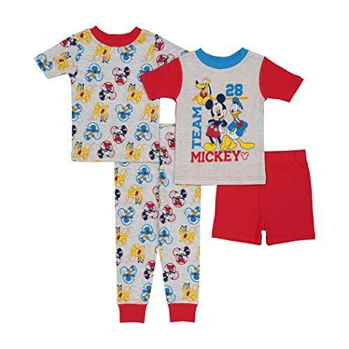 Disney Boys' Mickey Mouse 4-Piece Cotton Pajama Set, Team 28, 2T