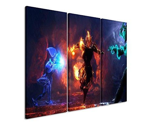 Quadro su tela 3pezzi Warframe _ Primal _ Conclave _ 3x 90x 40cm (totale 120x 90cm) _ Versione Bella Stampa Artistica Su vera tela come un murale su telaio